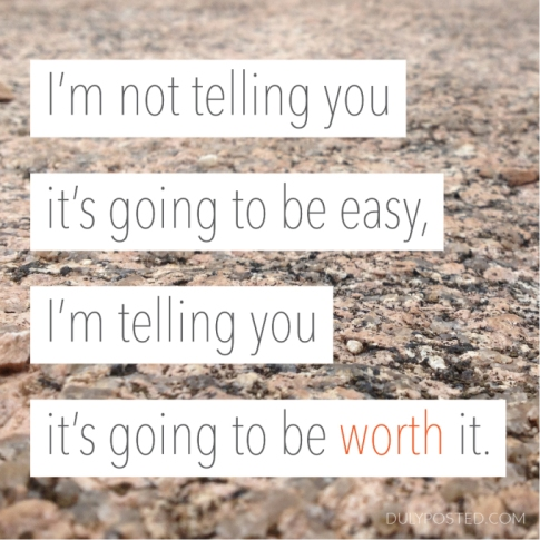 I'm not telling you it's going to be easy. I'm telling you it's going to be worth it